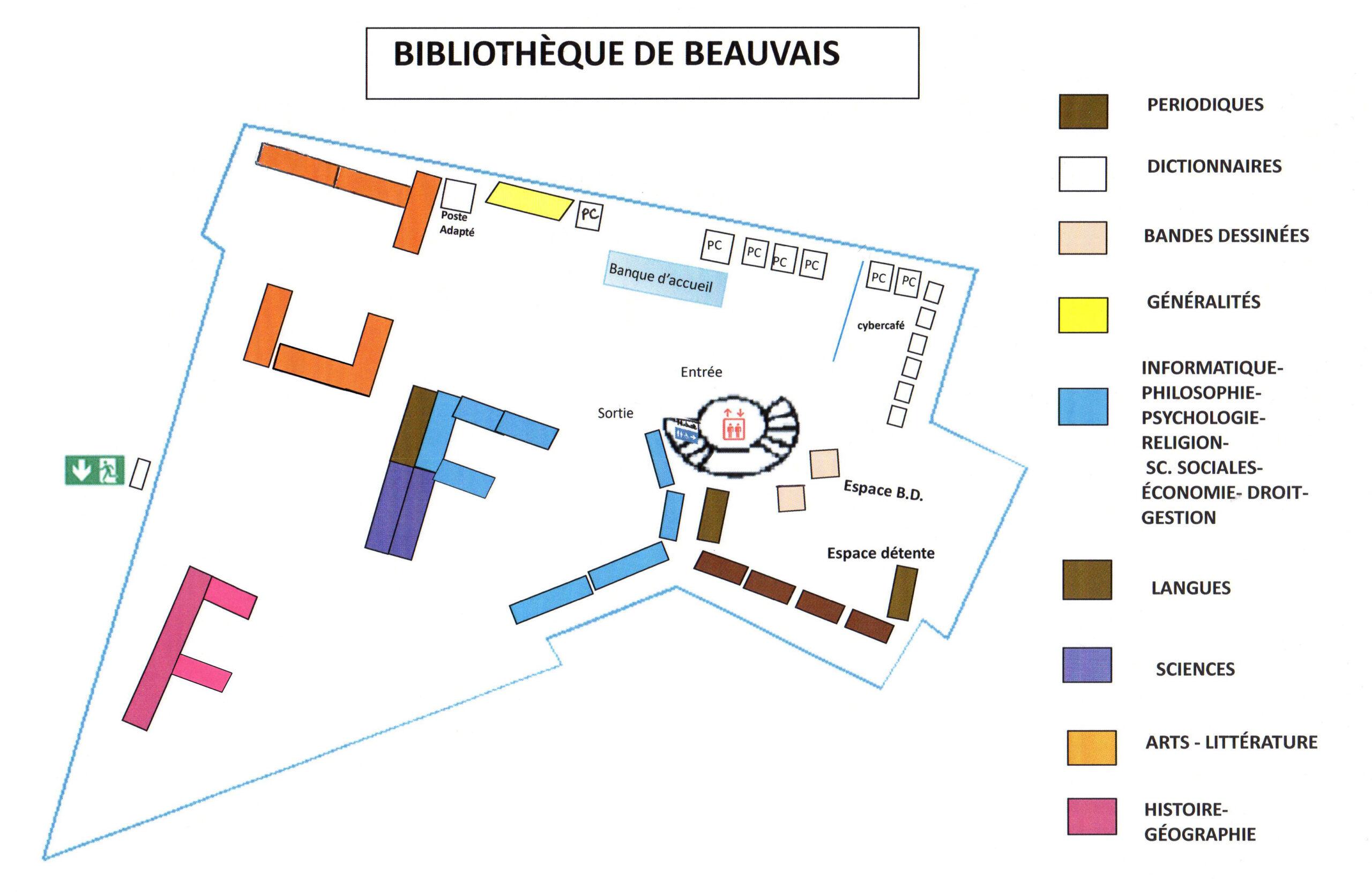 Plan de la bibliothèque universitaire de Beauvais