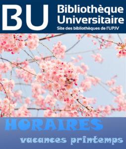 Image décorative pour annoncer les horaires et fermetures pour les vacances de printemps (visuel cerisiers en fleurs).