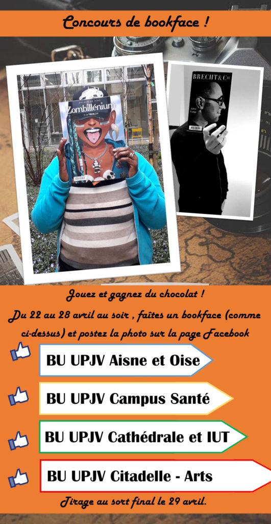 Affiche concours sur les pages facebook des BU de l'UPJV du 22 au 28 avril.