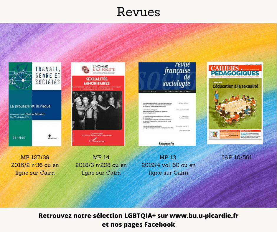 Visuel bibliographie thématique LGBTQIA+, couvertures des livres pour le choix dans les revues
