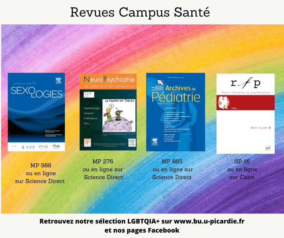 Visuel bibliographie thématique LGBTQIA+, couvertures des livres pour le choix dans les revues au Campus Santé