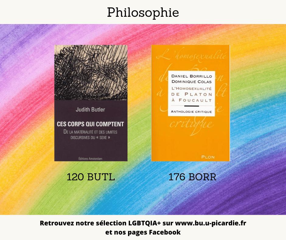 Visuel bibliographie thématique LGBTQIA+, couvertures des livres pour le choix en philosophie