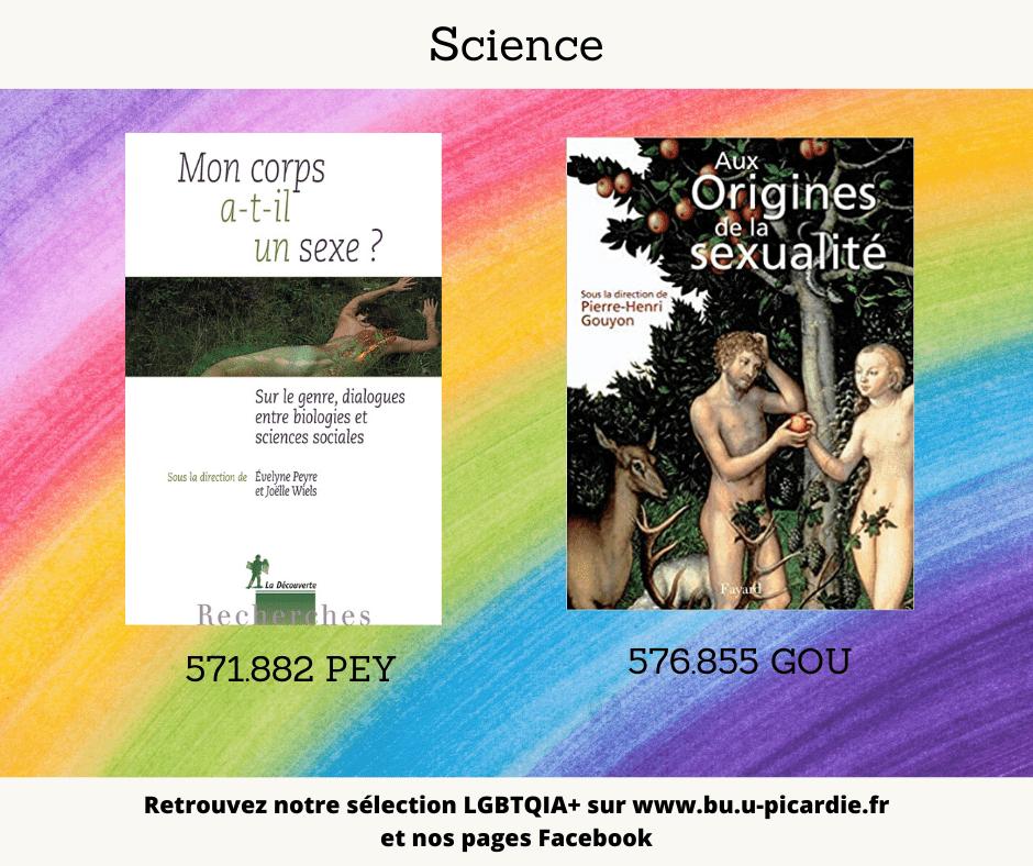 Visuel bibliographie thématique LGBTQIA+, couvertures des livres pour le choix science
