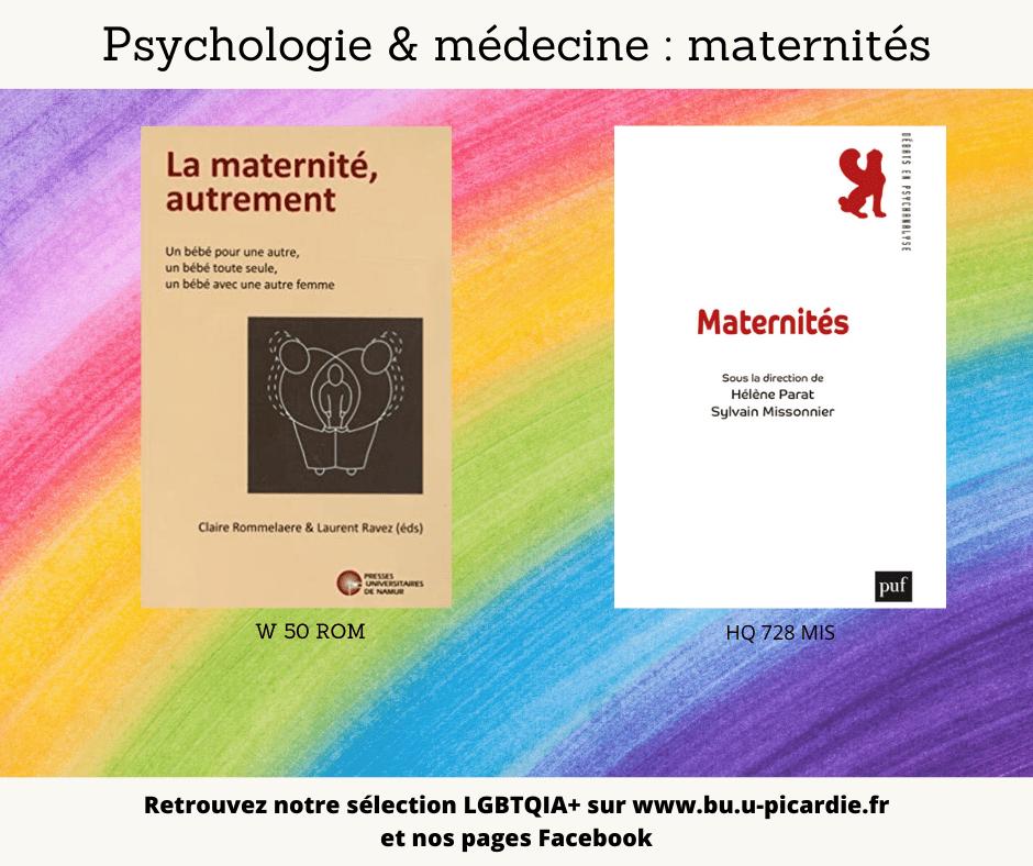 Visuel bibliographie thématique LGBTQIA+, couvertures des livres pour le choix psychologie et médecine