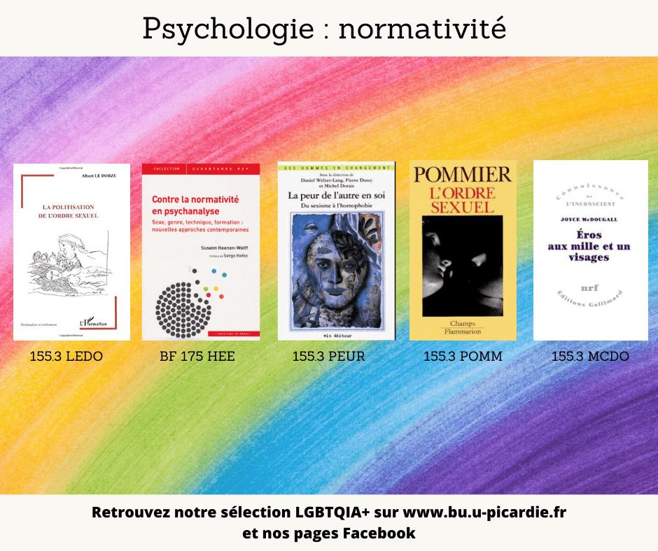 Visuel bibliographie thématique LGBTQIA+, couvertures des livres pour le choix psychologie