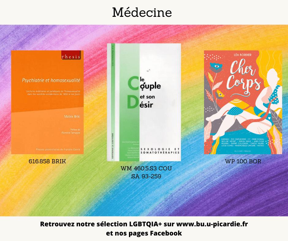 Visuel bibliographie thématique LGBTQIA+, couvertures des livres pour le choix médecine