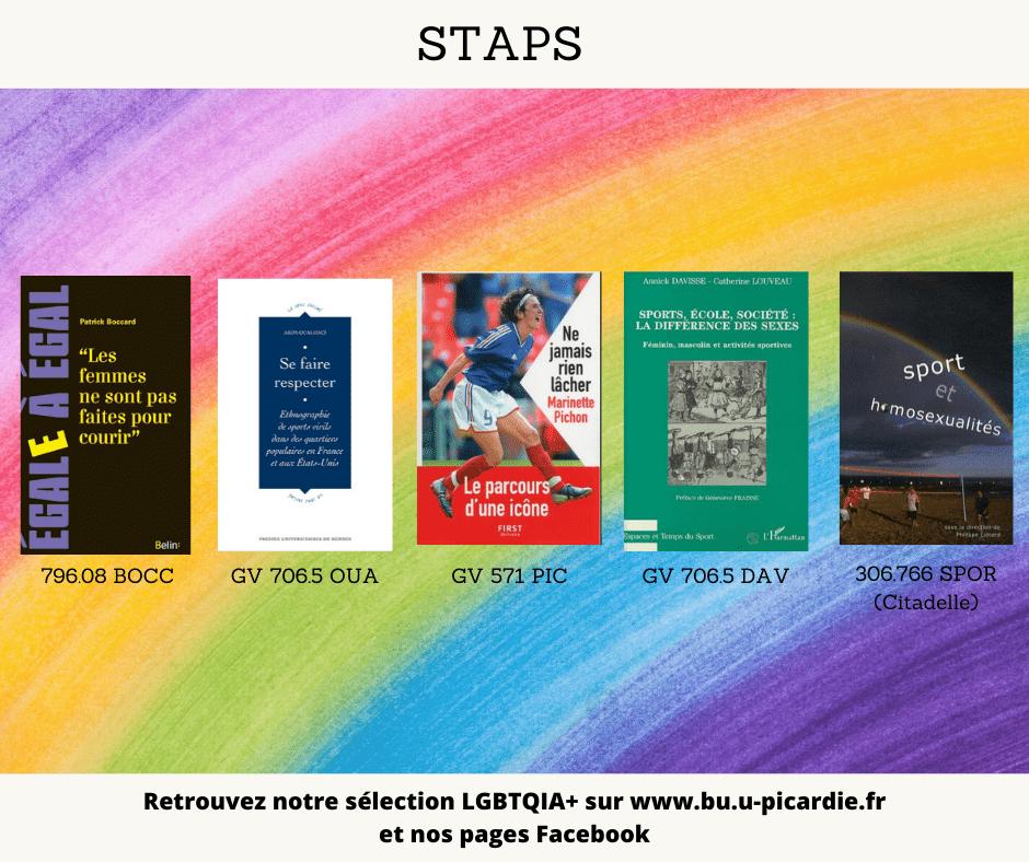 Visuel bibliographie thématique LGBTQIA+, couvertures des livres pour le choix STAPS