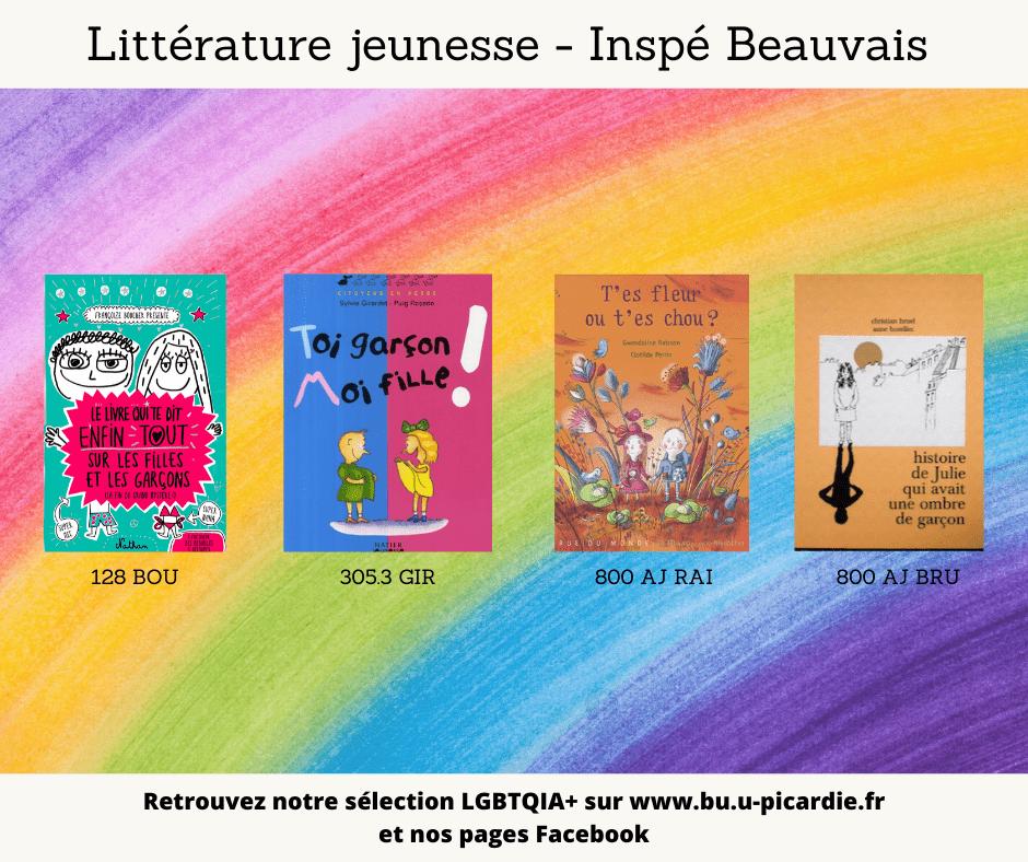 Visuel bibliographie thématique LGBTQIA+, couvertures des livres pour le choix littérature de jeunesse à l'inspé de Beauvais