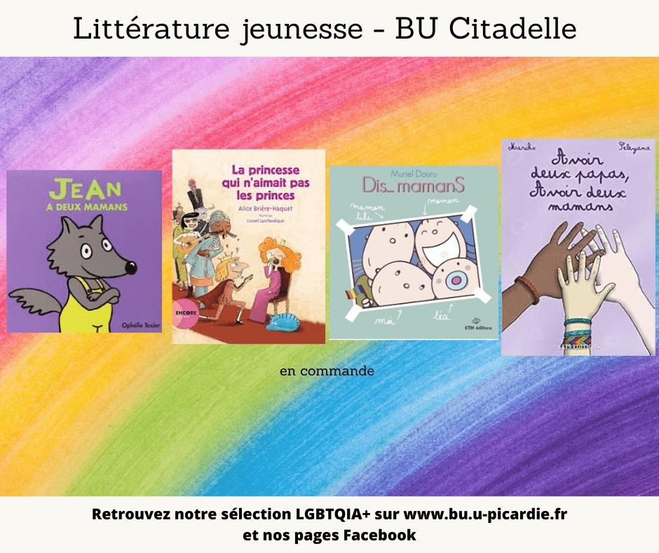 Visuel bibliographie thématique LGBTQIA+, couvertures des livres pour le choix littérature de jeunesse à la BU Citadelle