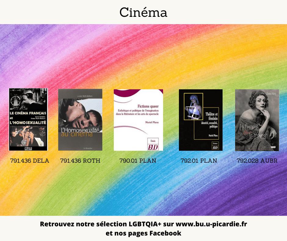 Visuel bibliographie thématique LGBTQIA+, couvertures des livres pour le choix en cinéma