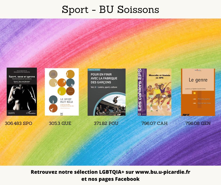 Visuel bibliographie thématique LGBTQIA+, couvertures des livres pour le choix Sport à la BU de Soissons