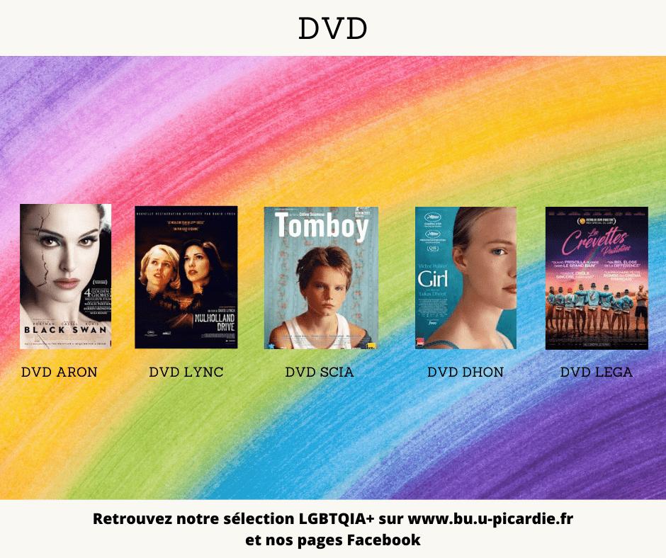 Visuel bibliographie thématique LGBTQIA+, couvertures des livres pour le choix dans les DVD