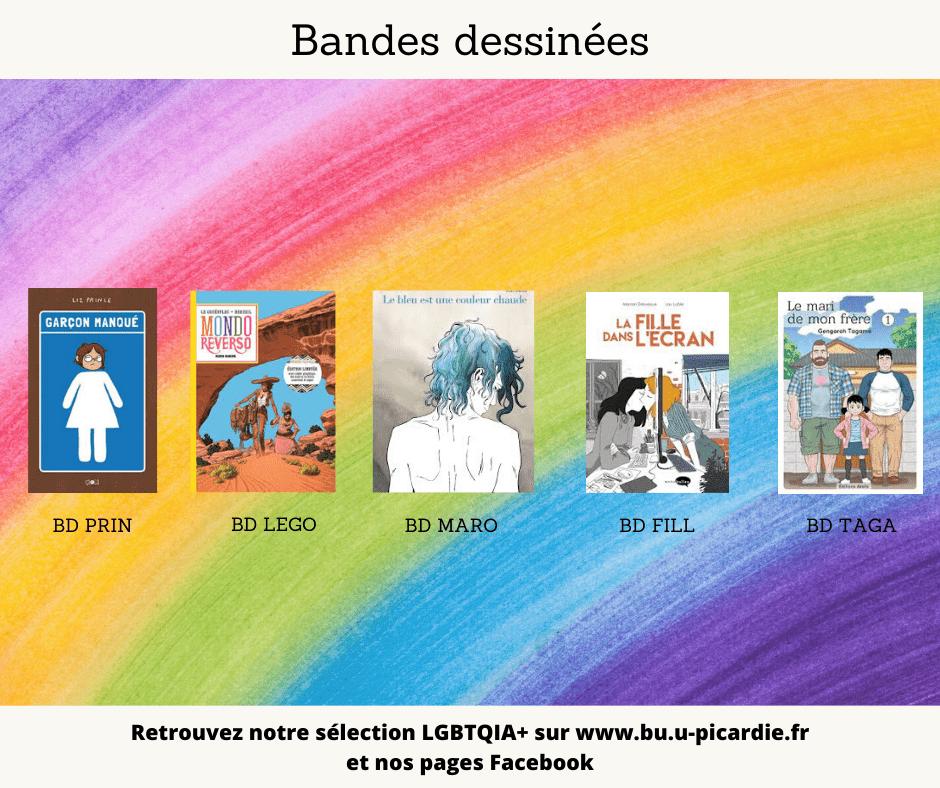 Visuel bibliographie thématique LGBTQIA+, couvertures des livres pour le choix en BD