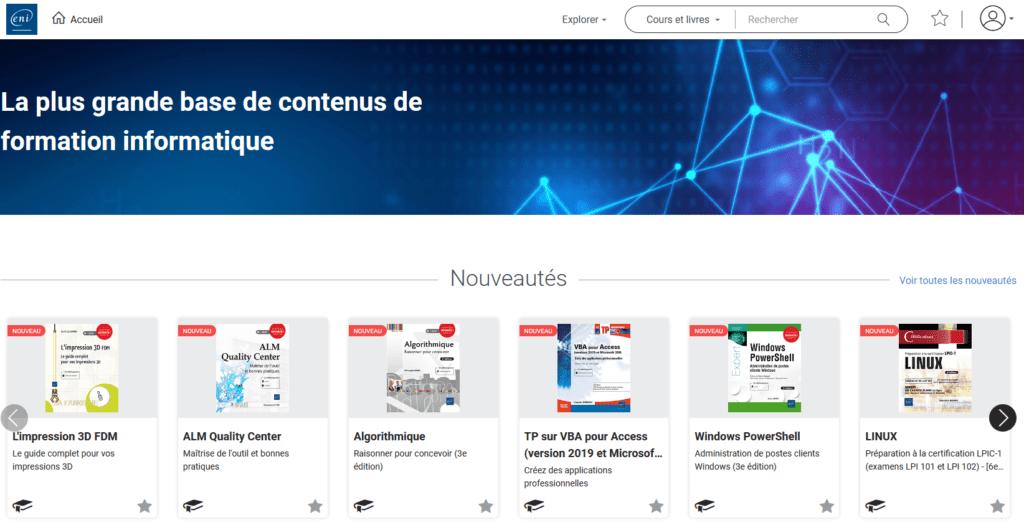 Visuel, capture d'écran de la page d'accueil de la base de données ENI.