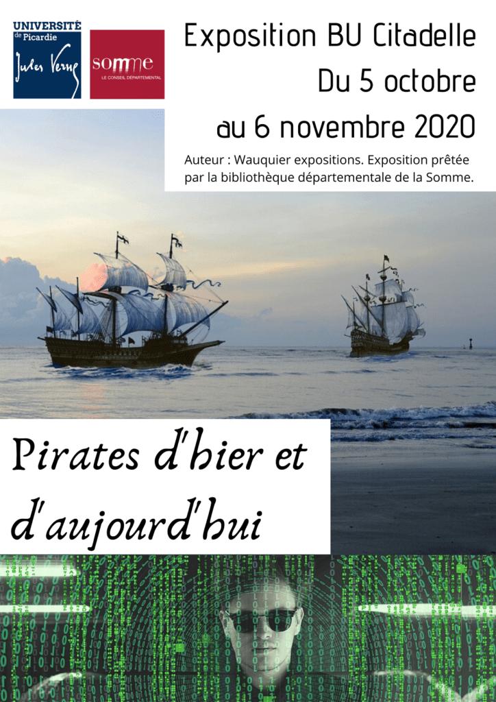"""Affiche pour l'exposition """"Pirates d'hier et d'aujourd'hui"""" à la BU Citadelle du 5 octobre au 6 novembre 2020."""