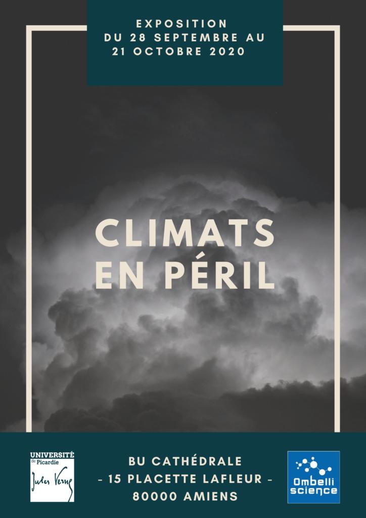 """Affiche de l'exposition """"Climats en péril"""" à la BU cathédrale du 28 septembre au 21 octobre 2020."""