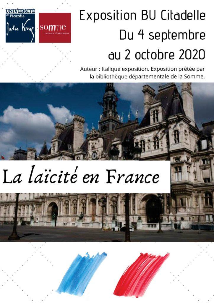 Affiche de l'exposition sur le thème de la laïcité, à la BU Citadelle du 4 septembre au 2 octobre 2020