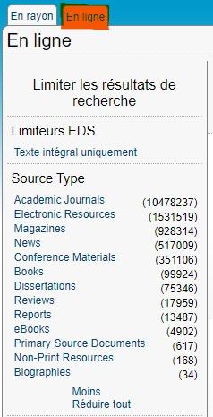 """Copie écran, visuel de la partie du catalogue des BU de l'UPJV """"en ligne"""" sur la limitation des résultats par type de source"""
