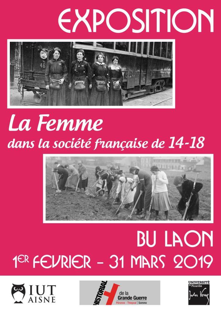 """Affiche exposition à la BU de l'IUT de Laon """"la femme dans la société française de 1914 à 1918""""."""