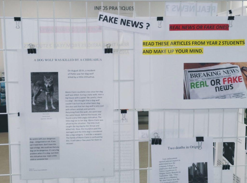 """Photographie d'un panneau de l'exposition à la BU de Saint-Quentin """"real or fake news"""""""