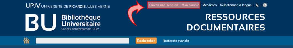 Visuel du catalogue des BU (copie d'écran) pour présenter les accès au compte lecteur.