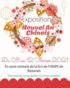 Affiche exposition Nouvel An Chinois 2021 à la BU de l'INSPE de Beauvais