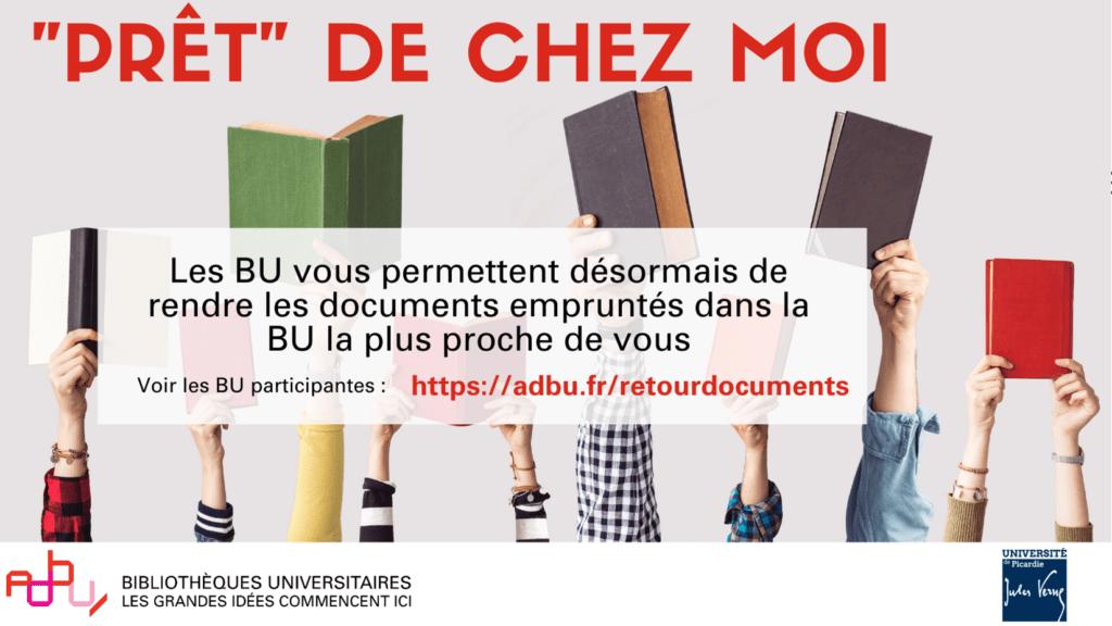 """Affiche opération """"prêt"""" de chez moi : rendre les documents empruntés dans les BU autres que UPJV (février 2021)"""