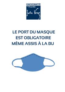 Visuel affiche informant sur Port du masque obligatoire à la BU