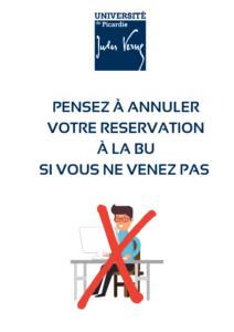 """Visuel affiche pour """"pensez à annuler votre réservation si vous ne venez pas à la BU"""""""