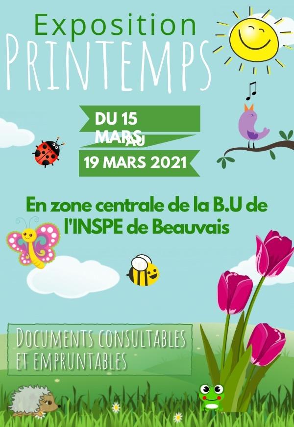 Affiche exposition à la BU de l'INSPE de Beauvais sur le printemps