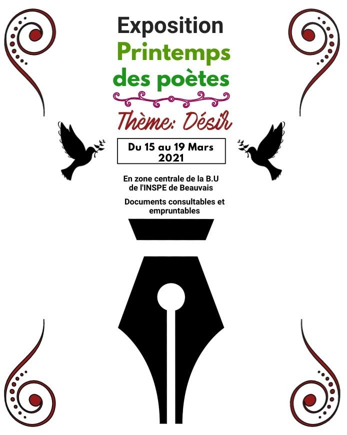 Affiche exposition à la BU de l'INSPE de Beauvais sur le printemps des poètes