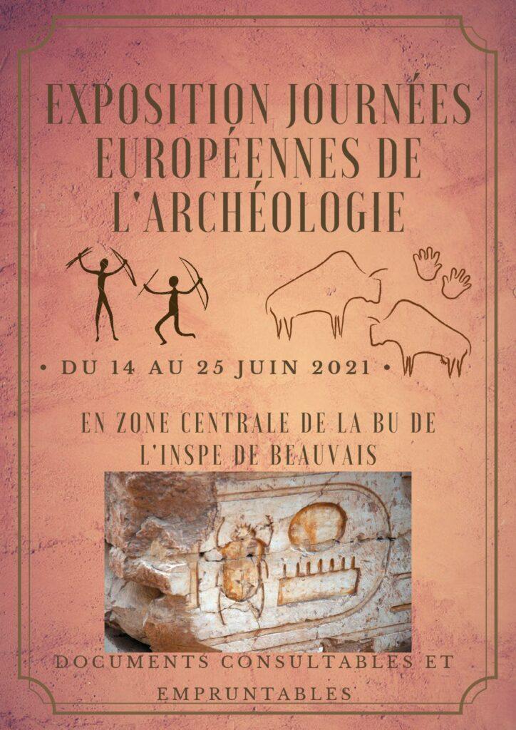 """Affiche exposition à la BU de l'INSPE de Beauvais """"Journées Européennes de l'Archéologie"""""""