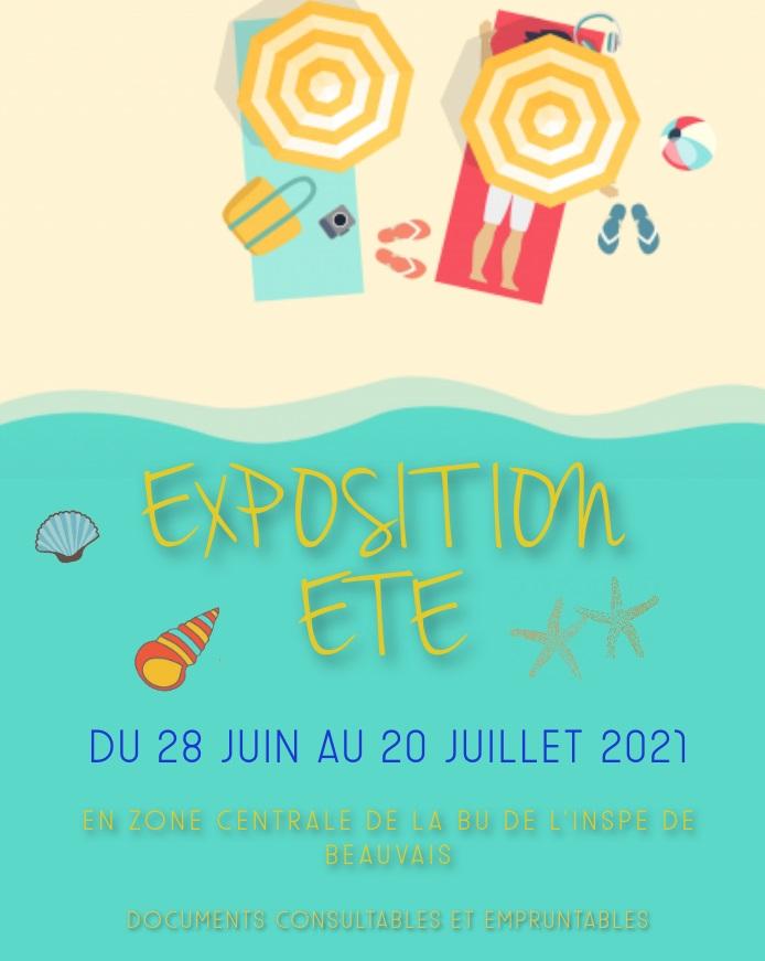 Affiche expo d'ouvrages sur l'été 2021 à la bu INSPE beauvais