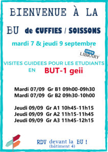 Affiche pour annoncer les groupes en GEII pour la visite de la BU de Cuffies Soissons, septembre 2021